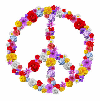 Floral Peace Sign Photo Sculpture Badge