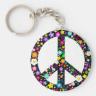 Floral Peace Symbol Key Ring