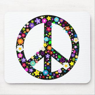 Floral Peace Symbol Mouse Pad