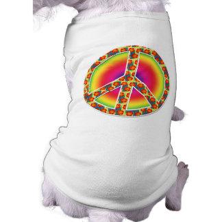 Floral Peace symbol Sleeveless Dog Shirt