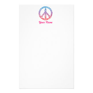 Floral Peace Symbol Stationery Design