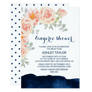 Floral Peach and Navy Watercolor Lingerie Shower Card