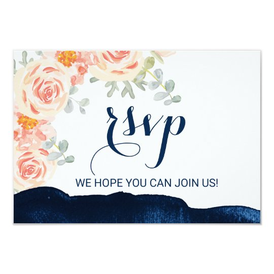 Floral Peach and Navy Watercolor Menu Choice RSVP