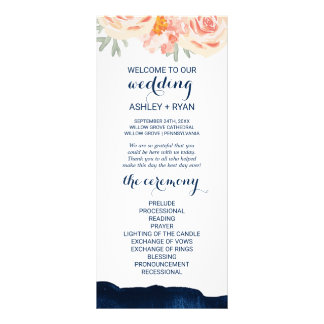 Floral Peach and Navy Watercolor Wedding Program Rack Card