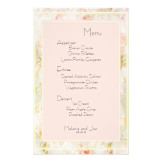 Floral Peach Pink and Gold Wedding Menu Stationery 14 Cm X 21.5 Cm Flyer