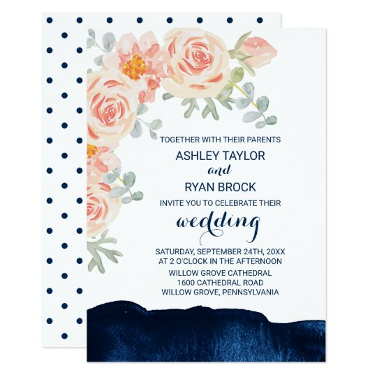 Floral Peach Pink and Navy Watercolor Wedding Card