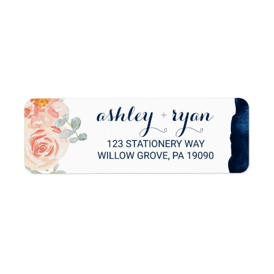 Floral Peach Pink and Navy Watercolor Wedding Return