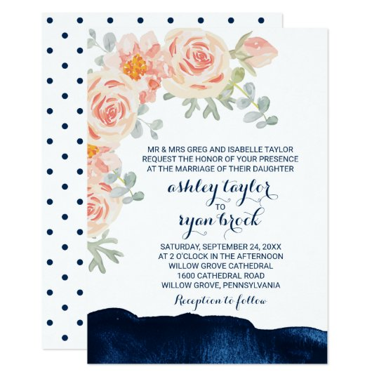 Floral Peach Pink & Navy Watercolor Formal Wedding