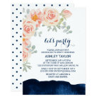 Floral Peach Pink & Navy Watercolor Let's Party Card