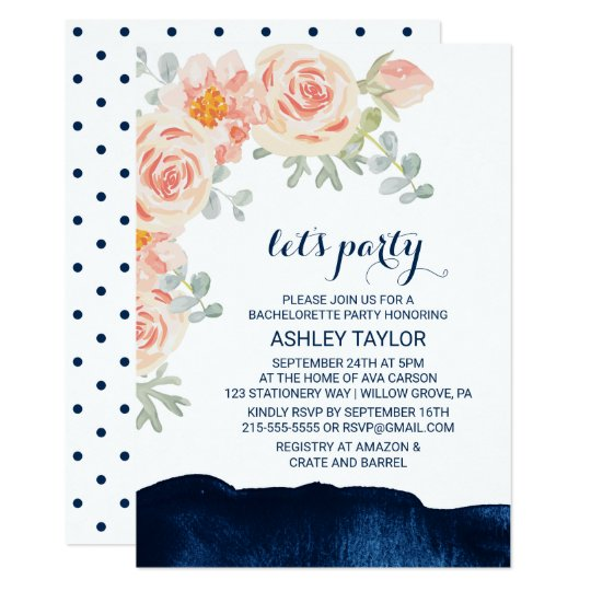 Floral Peach Pink & Navy Watercolor Let's Party