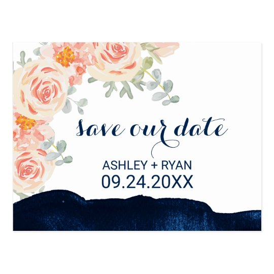 Floral Peach Pink & Navy Watercolor Save the