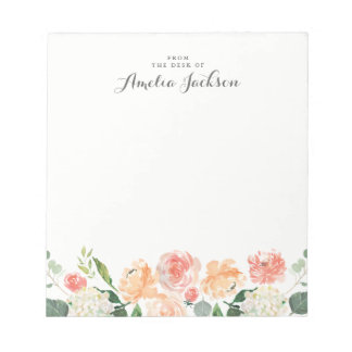 Floral Peach Pink Personalized Stationery Notepad