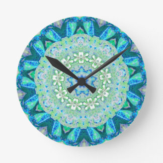 Floral Peacock Fractal Round Clock