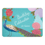 Floral Peacock on Blue Linen Birthday Invite