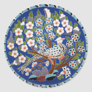 Floral Peacock Tile Art Sticker