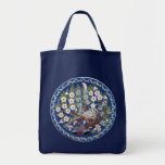 Floral Peafowl Grocery Tote Bag