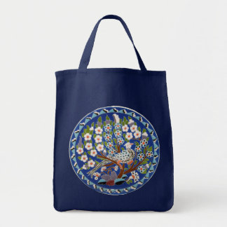 Floral Peafowl Tote Bag