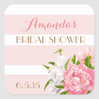 Floral Peonie Pink Bridal Shower Favor Tags Square Sticker