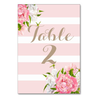 Floral Peonie Table Number Cards Weddings Table Cards