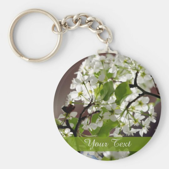 Floral Personalised Blossom Photo Basic Round Button Key Ring