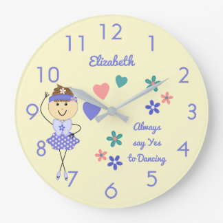 Floral Personalized name purple Ballerina Large Clock