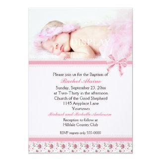 Floral Photo Baptism Invitation