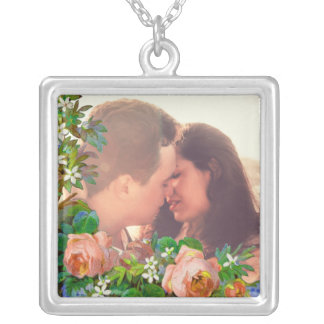 Floral photo border silver plated necklace