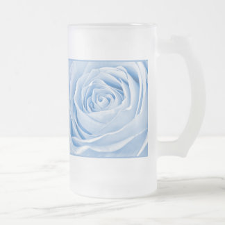 Floral Photo Dainty Light Blue Rose Glass Beer Mugs