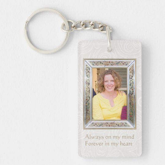 Floral Photo frame Quote custom Memorial Keychain