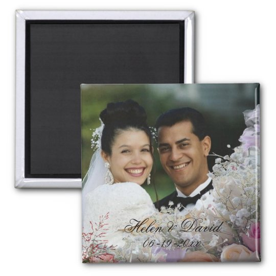 Floral Photo Frame Wedding Magnet