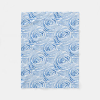Floral Photo Light Blue Rose Wallpaper Pattern Fleece Blanket