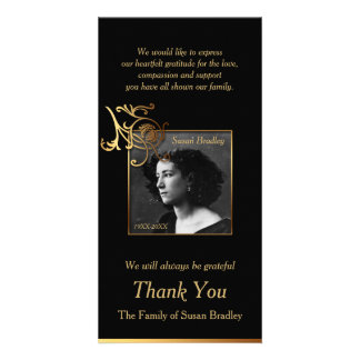 Floral Photo Sympathy Thank You with gold piping Card
