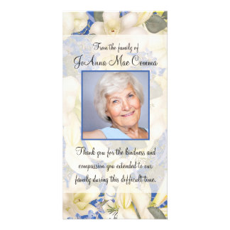 Floral Photo Sympathy Thank You with Orchids Customized Photo Card