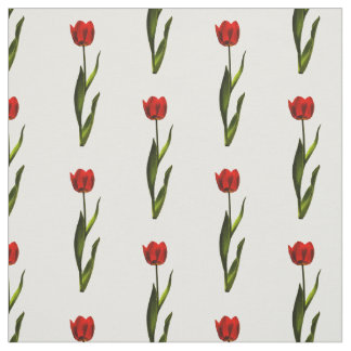 Floral Photography Red, Green, White Tulip Pattern Fabric