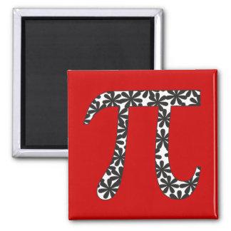 Floral Pi Math Square Magnet