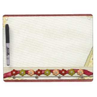 Floral piece of paper dry erase board with key ring holder