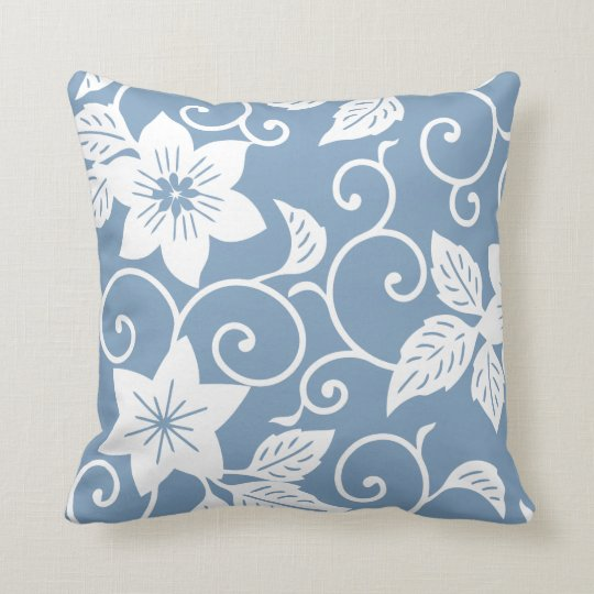 Floral Pillow - Dusk Blue Pattern