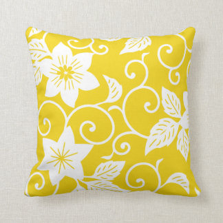Floral Pillow - Lemon Yellow Pattern