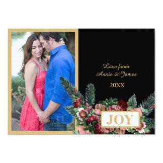 Floral & Pine Christmas Photo Card 11 Cm X 16 Cm Invitation Card