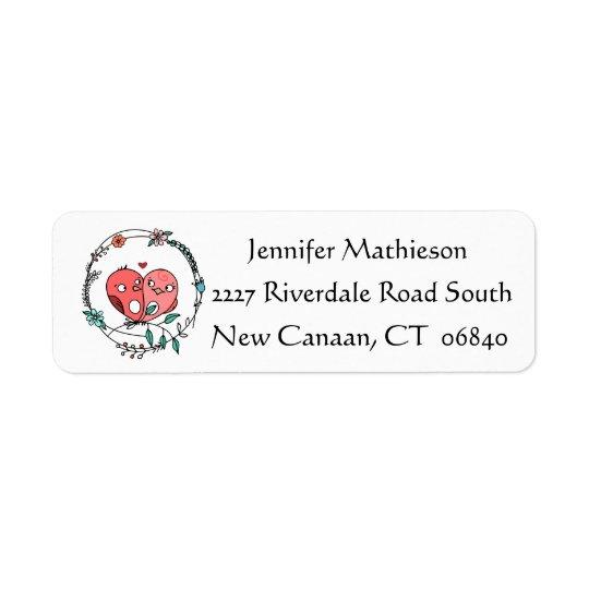 Floral Pink And Black Lovebirds Address Return Address Label