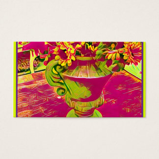 Floral pink and green business cards