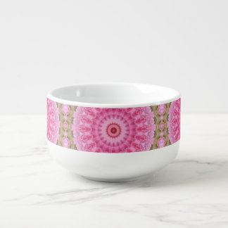 Floral Pink and Green Garden Kaleidoscope Pattern Soup Mug