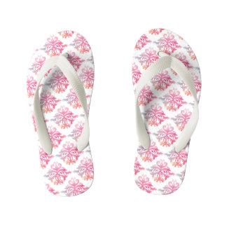 Floral Pink and Grey Flip Flops