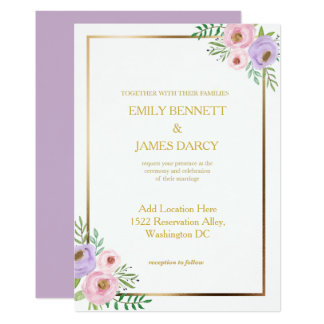 Floral Pink and Purple Invitation