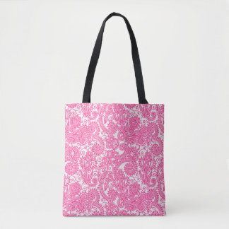 Floral Pink And White Paisley Damask Flowers Tote Bag