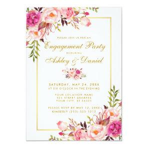 Floral Pink Blush Gold Wedding Engagement Invite