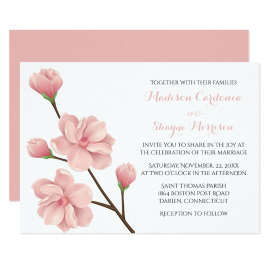 Floral Pink Cherry Blossom Flowers Spring Wedding Card