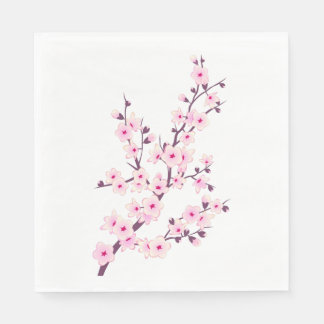 Floral Pink Cherry Blossoms Disposable Napkin