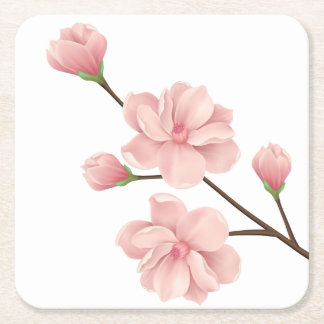 Floral Pink Cherry Blossoms Flower Wedding Party Square Paper Coaster