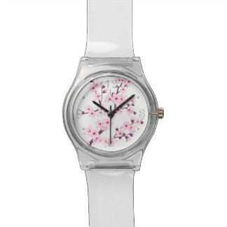 Floral Pink Cherry Blossoms Wristwatch
